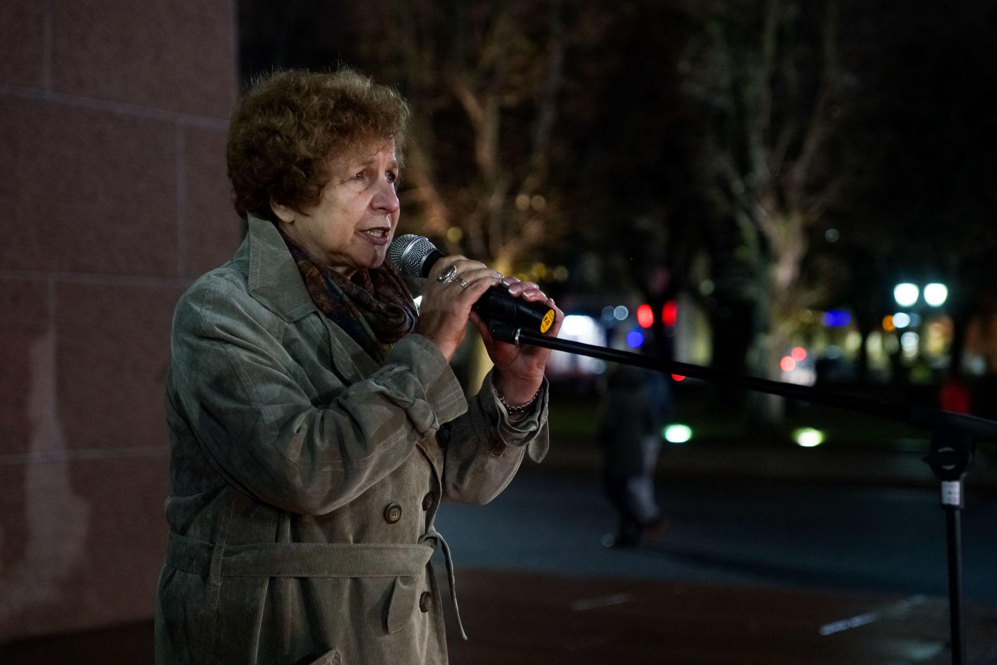 Татьяна Жданок на мероприятии, посвященном годовщине Хрустальной ночи, Рига, 9 ноября 2019