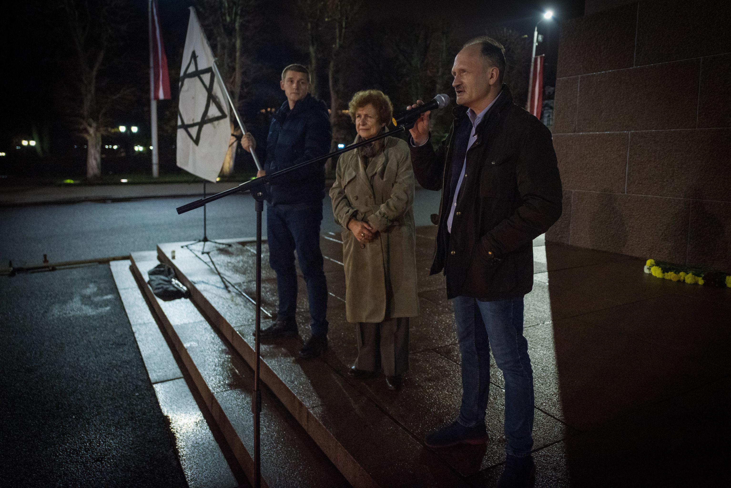 Мирослав Митрофанов на мероприятии, посвященном годовщине Хрустальной ночи, Рига, 9 ноября 2019