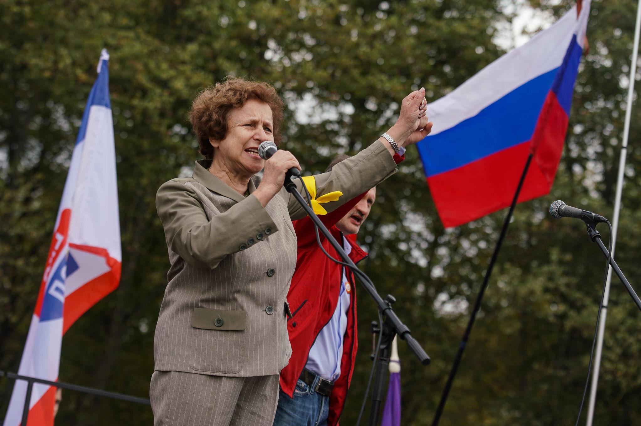 Татьяна Жданок на Марше за русские школы в Риге, 15 сентября 2018