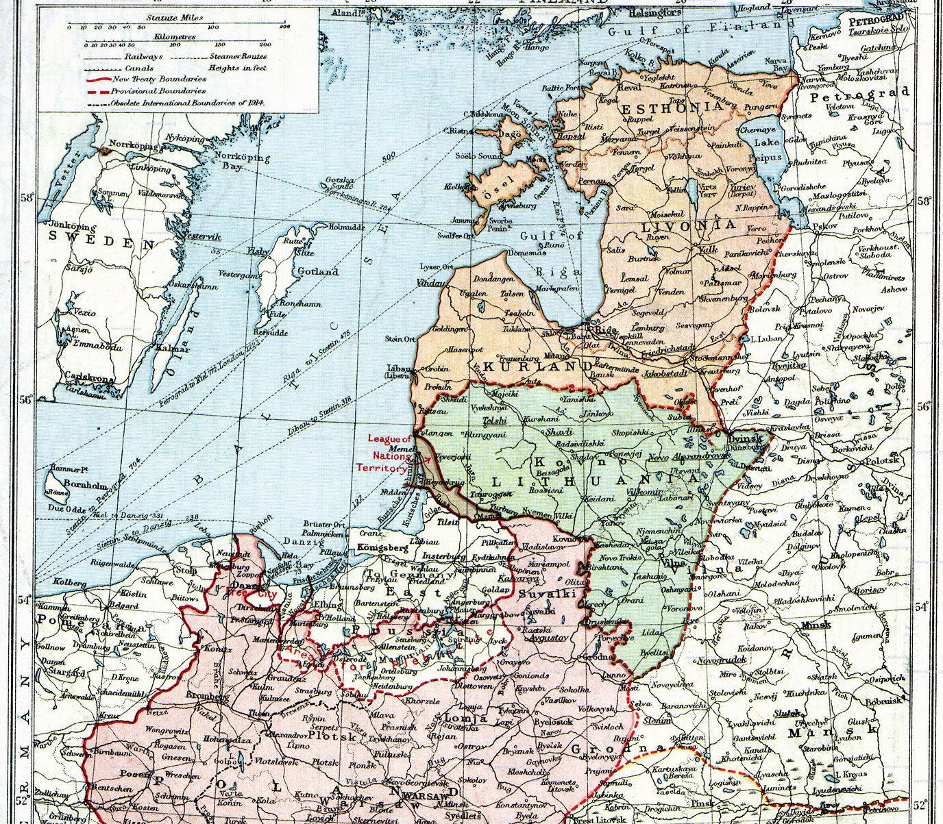 Британская карта Прибалтики с границами до Рижского мира