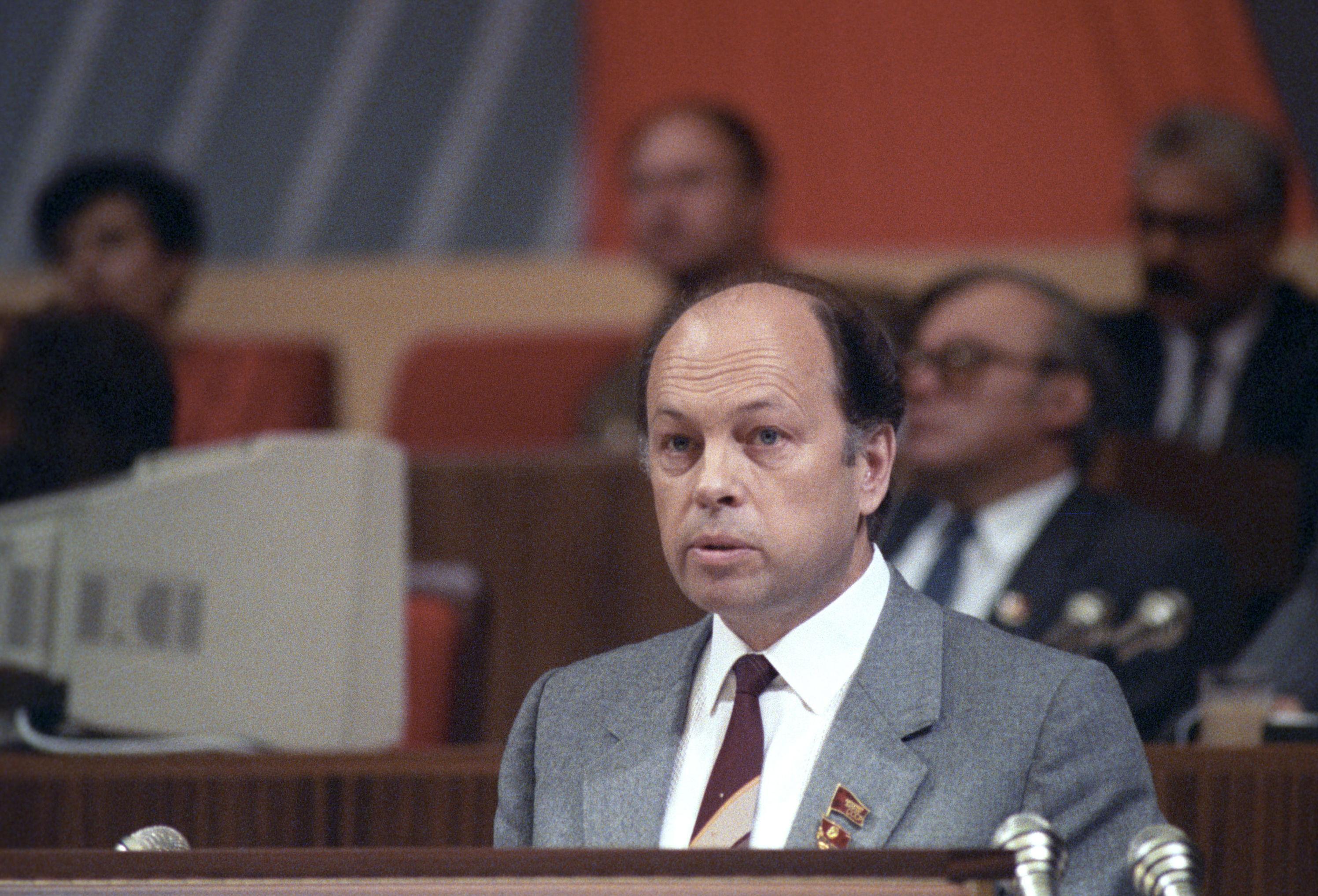 Первый секретарь ЦК Коммунистической партии Латвии Альфред Петрович Рубикс на XXVIII съезд КПСС.