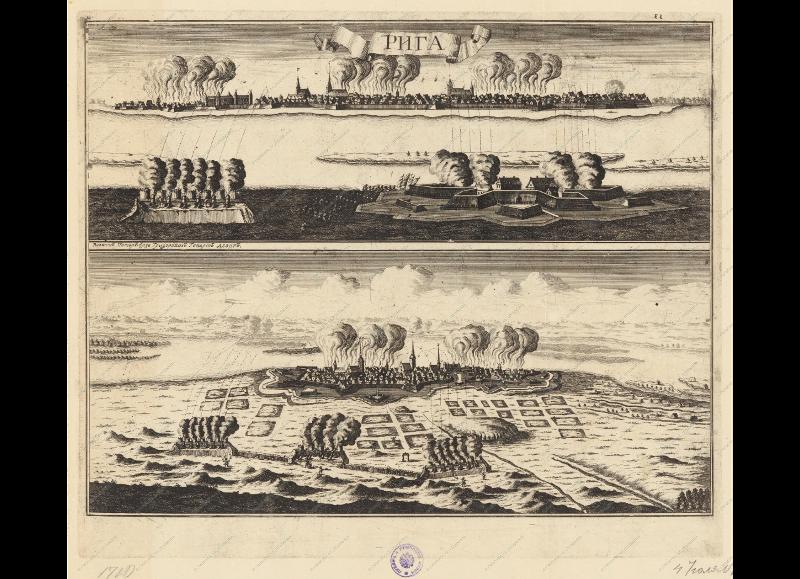 Вид и план осады Риги 14 июля 1710 года. Иллюстрация «Книги Марсовой» А.-М. Малэ (2-е издание). Оттиск второй половины XVIII века