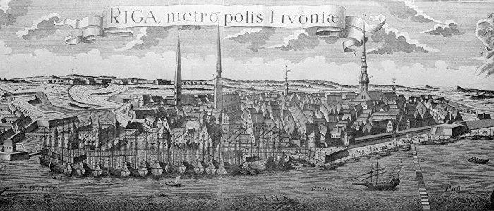 Репродукция гравюры XVIII века с изображением города Риги