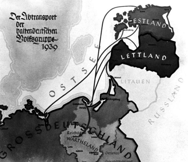 Карта переселения прибалтийских немцев, 1939 год